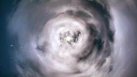 Trou de ver directement par le temps et espace, les nuages, et les millions d'étoiles Animation colorée de voyage dans l'espace C banque de vidéos