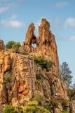 Trou en forme de coeur dans la roche chez le Calanches en Corse Images stock