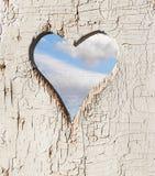 Trou en forme de coeur dans une porte en bois Photos libres de droits
