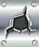 Trou en lambeaux dans le métal Images stock