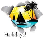 Trou en papier aux vacances Images libres de droits