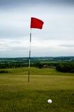 Trou et bille de golf Photographie stock