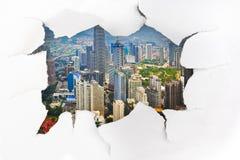 Trou et ville de papier (Kuala Lumpur Malaysia) photo stock