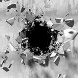 Trou foncé d'explosion de vieux mur en béton image stock