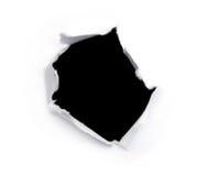 Trou noir sur un livre blanc Image stock