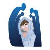 Trouble d'anxiété social, concept de phobie sociale Jeune homme déprimé dans la foule des silhouettes Illustration de vecteur illustration de vecteur