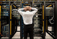 Trouble in datacenter stock photography