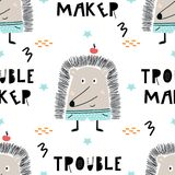 Trouble maker - Cute hand drawn nursery seamless pattern with cool hedgehog animal and hand drawn lettering. stock illustration