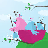 Trouble in the nest over domestic tasks Royalty Free Stock Image
