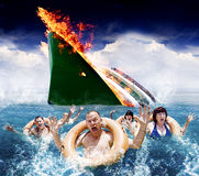Trouble In Paradise. Concept With Five Hysterical Tourists Wearing Life Rings Scream And Wave In The Ocean For Help And Rescue After An Accident Sinks Their Stock Photo