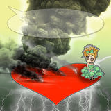 Trouble in Paradise. Angry girl sitting on a heart with bombs smoke and thunders around. Text bubble above Stock Photos