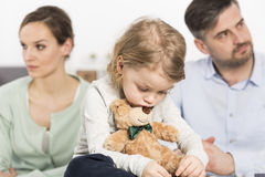 Trouble of parents affect on mood of child Royalty Free Stock Photos
