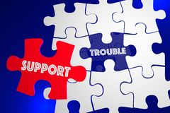 Trouble Problem Issue Solved Customer Support Service Puzzle 3d. Illustration Royalty Free Stock Photography