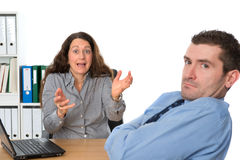 Trouble on workplace. Man and women heaving trouble on workplace Royalty Free Stock Images