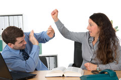Trouble on workplace. Man and women heaving trouble on workplace Stock Photography