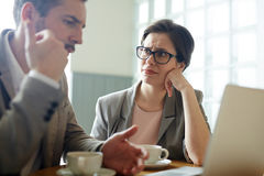 Troubled Business People Solving Problem stock photography