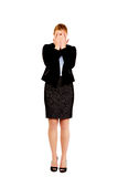 Troubled business woman covering her face with hands Royalty Free Stock Images