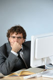 Troubled businessman. Vertical image of troubled businessman Stock Photos