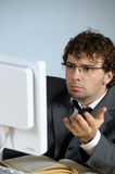 Troubled businessman. Vertical image of troubled businessman Royalty Free Stock Photo