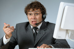 Troubled businessman. Horizontal image of troubled businessman Royalty Free Stock Images