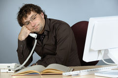 Troubled businessman. Horizontal image of troubled businessman Stock Photos
