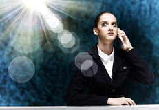 Troubled businesswoman Stock Photo