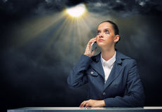 Troubled businesswoman Stock Photos