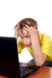 Troubled Kid with Laptop Royalty Free Stock Photos
