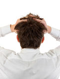 Troubled Man Rear View. Rear View of the Stressed Man Isolated on the White Background Stock Photo