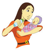 Troubled Mommy. With crying baby stock illustration
