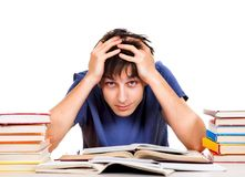 Troubled Student with a Books Royalty Free Stock Images