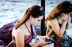 Troubled Students On The Seaside Royalty Free Stock Photo