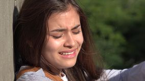 Troubled Teen Girl Crying stock video