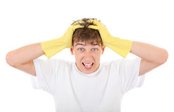 Troubled Teenager in Rubber Gloves Royalty Free Stock Image