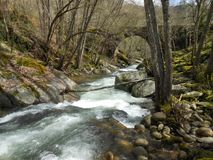 Troubled Waters. River flowing under a bridge Stock Images