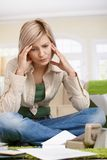 Troubled woman at home Royalty Free Stock Photos