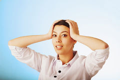 Troubled womant. Close up portrait. Gestures, body language, ps royalty free stock photography