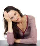 Troubled young beautiful woman Royalty Free Stock Image