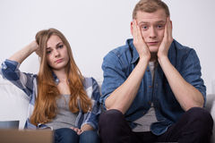 Troubled young couple. During move out process royalty free stock photos