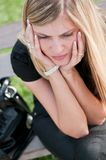 In troubles - depressed young woman Royalty Free Stock Photography