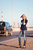 Young fashion business woman calling on cell phone outdoor Royalty Free Stock Photography