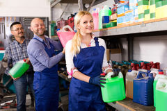 Troubleshooters and superviser at storage Stock Images