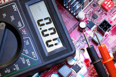 Troubleshooting  of electronic components Stock Photos