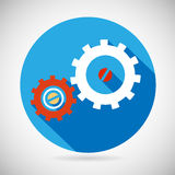 Troubleshooting Symbol Gears Icon on Stylish Royalty Free Stock Image