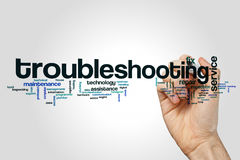 Troubleshooting word cloud. Concept on grey background Stock Image