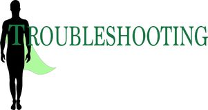 Troubleshooting Word logo conceptual Illustration. Troubleshooting at hand text isolated flat . Transparent Royalty Free Stock Photography