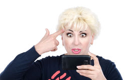 Troublesome mature woman has video call Stock Images