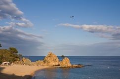 Troublez la plage de Menuda dans Tossa De mars Costa Brava, Catalogne, Espagne Photo stock