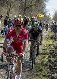 The Peloton in The Forest of Arenberg- Paris Roubaix 2015 royalty free stock photography