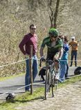 The Cyclist Yannick Martinez in The Forest of Arenberg- Paris Roubaix 2015 royalty free stock images